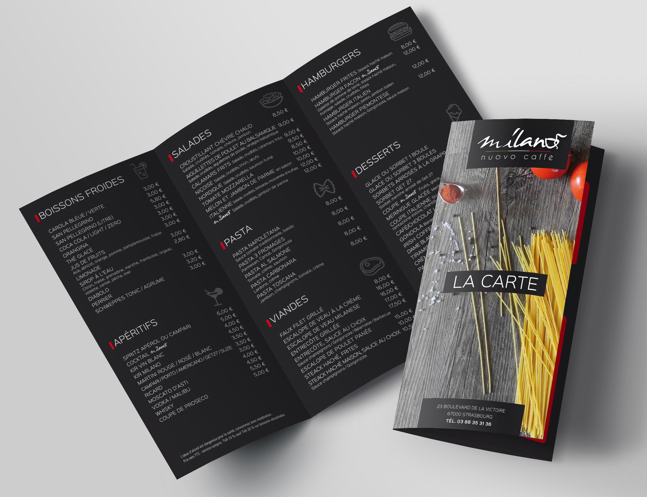 Création des cartes de menu d'un café-restaurant