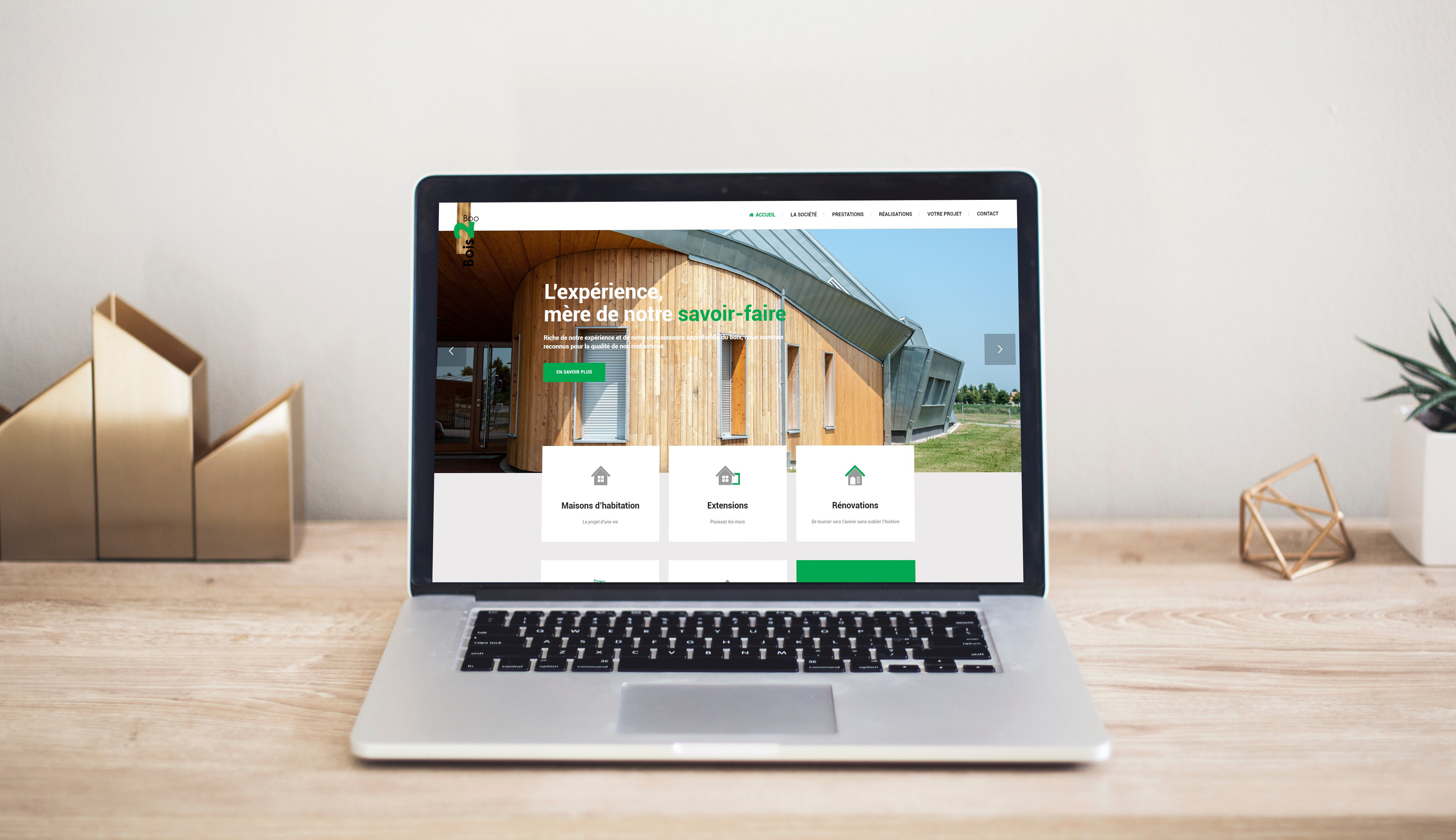 Site internet pour une entreprise de construction bois