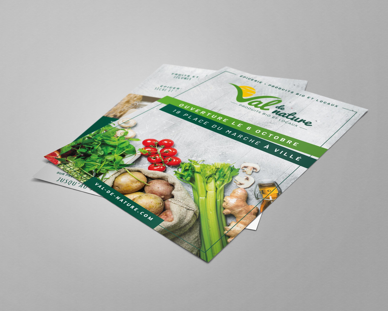 Identité visuelle, supports de communication et signalétique magasin pour une épicerie bio